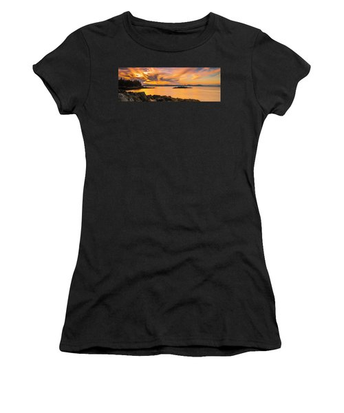 Maine Rocky Coastal Sunset In Penobscot Bay Panorama Women's T-Shirt (Athletic Fit)