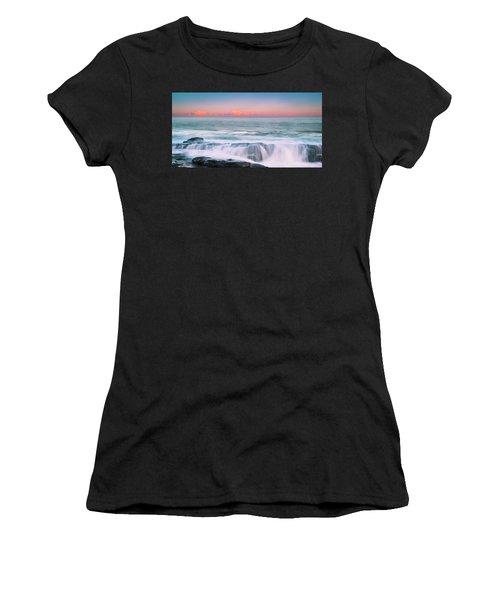 Maine Rocky Coastal Sunset Panorama Women's T-Shirt