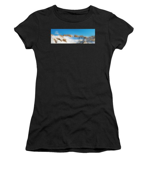 Maine Snow Dunes On Coast In Winter Panorama Women's T-Shirt