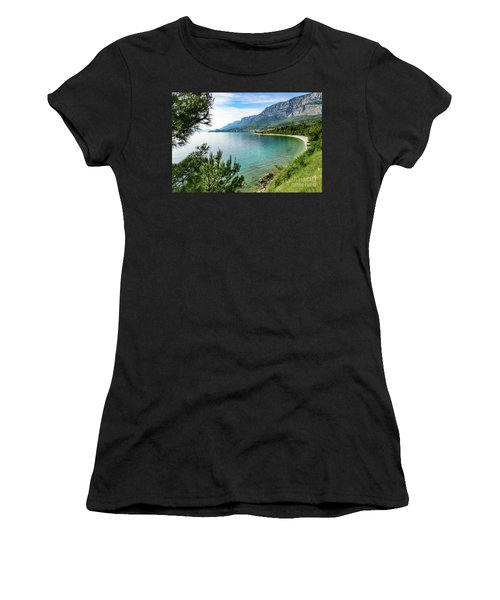 Makarska Riviera White Stone Beach, Dalmatian Coast, Croatia Women's T-Shirt (Athletic Fit)