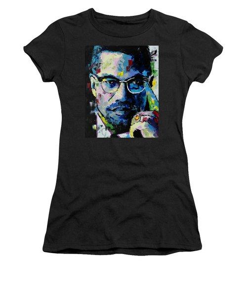Malcolm X Women's T-Shirt (Junior Cut) by Richard Day