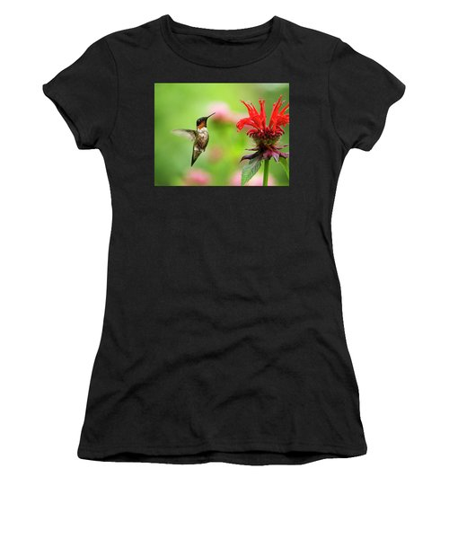 Male Ruby-throated Hummingbird Hovering Near Flowers Women's T-Shirt (Athletic Fit)