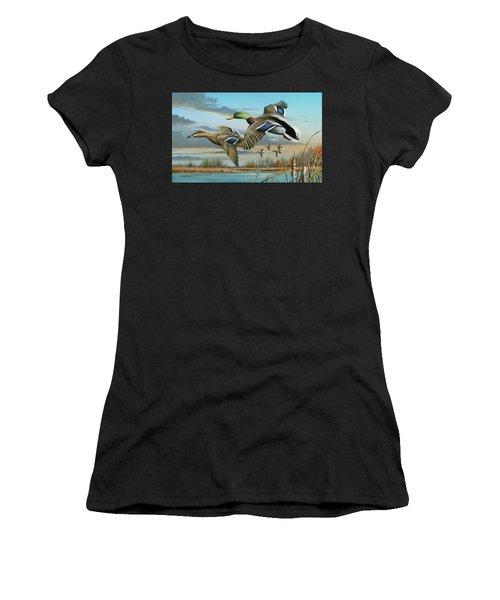 Mallards In Flight Women's T-Shirt