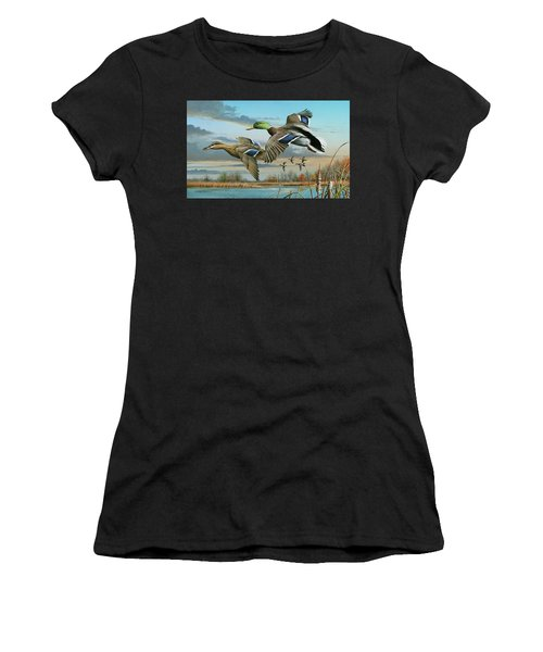 Mallards In Flight Women's T-Shirt