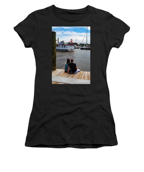 Man And Woman Sitting On Dock Women's T-Shirt
