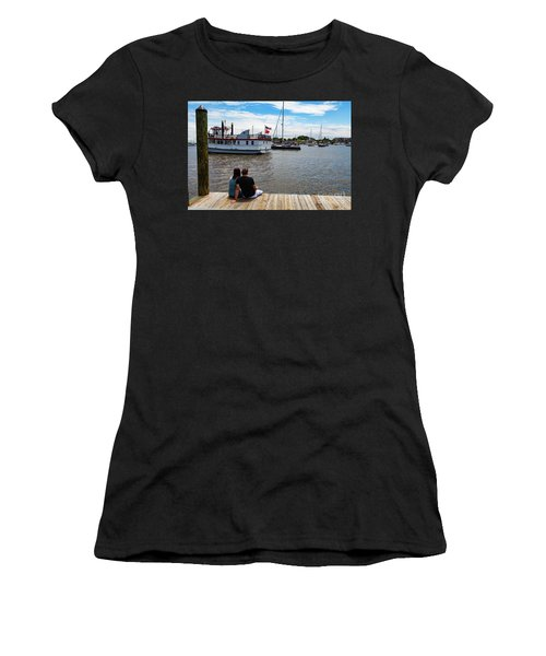Man And Woman Sitting On The Dock Women's T-Shirt