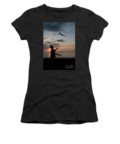 Man Juggling With Four Clubs At Sunset Women's T-Shirt