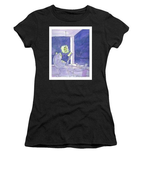 Man Reads By The Light Of Fireflies. Women's T-Shirt
