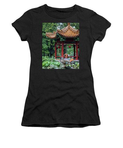 Mandarin Ducks At Pavilion Women's T-Shirt