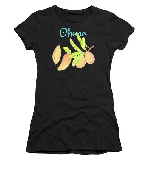 Mango Ohana Tropical Hawaiian Design Of Fruit And Family Women's T-Shirt