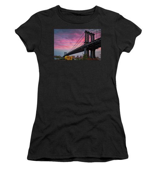 Women's T-Shirt (Junior Cut) featuring the photograph Manhattan Bridge At Sunrise  by Emmanuel Panagiotakis