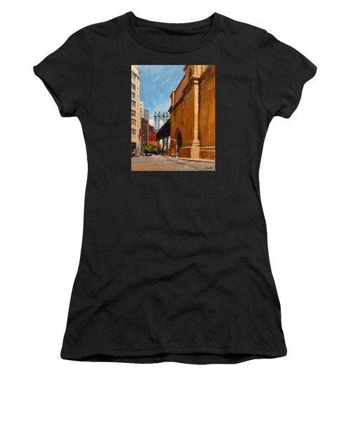 Manhattan Bridge From  Front Street, Brooklyn Women's T-Shirt (Athletic Fit)