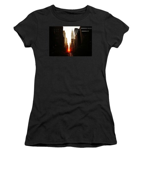Manhattanhenge Sunset Over The Heart Of New York City Women's T-Shirt (Junior Cut) by Vivienne Gucwa