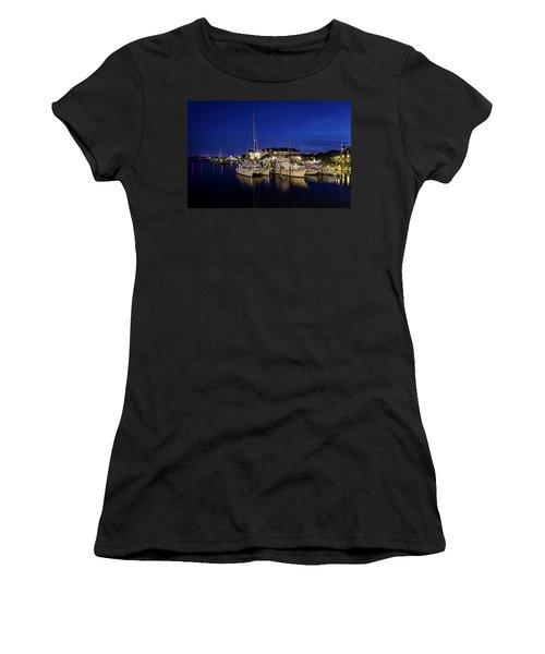 Manteo Waterfront Marina At Night Women's T-Shirt