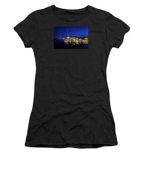 Manteo Waterfront Marina At Night Women's T-Shirt