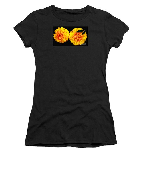 Women's T-Shirt (Junior Cut) featuring the photograph Marigolds With Oil Painting Effect by Rose Santuci-Sofranko