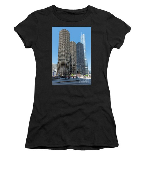 Marina City, Ama Plaza, And Trump Tower Women's T-Shirt