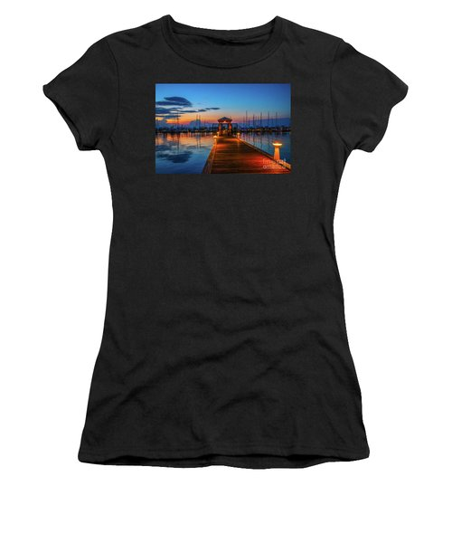 Women's T-Shirt featuring the photograph Marina Sunrise by Tom Claud