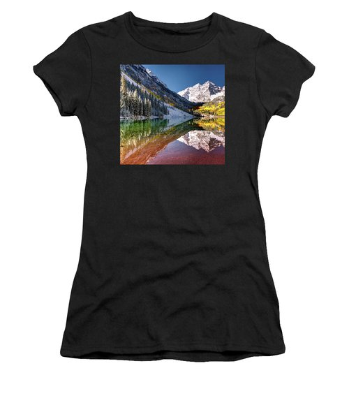 Women's T-Shirt (Athletic Fit) featuring the photograph Olena Art Sunrise At Maroon Bells Lake Autumn Aspen Trees In The Rocky Mountains Near Aspen Colorado by OLena Art Brand