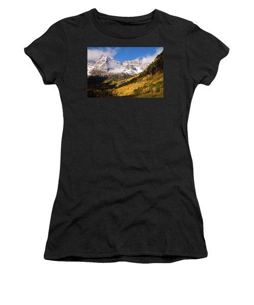 Women's T-Shirt (Junior Cut) featuring the photograph Maroon Bells by Steve Stuller
