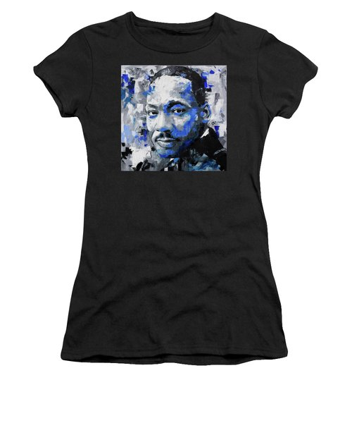 Women's T-Shirt (Junior Cut) featuring the painting Martin Luther King Jr by Richard Day