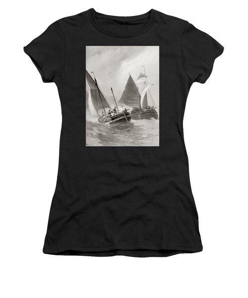 Mason And Gallop Attacking The Indians Off Block Island Women's T-Shirt