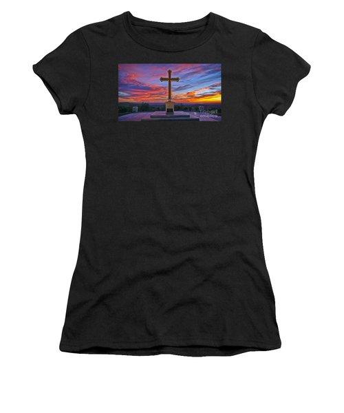 Christian Cross And Amazing Sunset Women's T-Shirt (Athletic Fit)