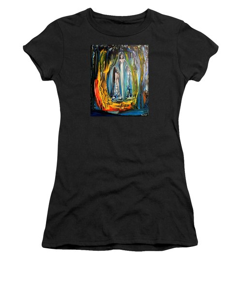Women's T-Shirt (Junior Cut) featuring the painting Matrimony  by Kicking Bear  Productions
