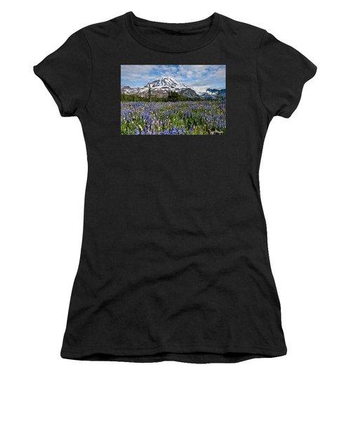 Meadow Of Lupine Near Mount Rainier Women's T-Shirt