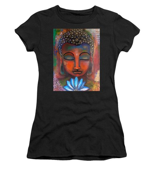 Meditating Buddha With A Blue Lotus Women's T-Shirt (Athletic Fit)