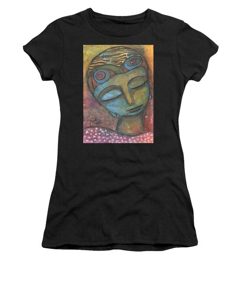 Women's T-Shirt (Athletic Fit) featuring the mixed media Meditative Awareness by Prerna Poojara
