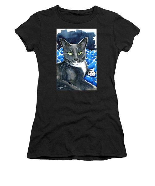 Melo - Blue Tuxedo Cat Painting Women's T-Shirt (Athletic Fit)