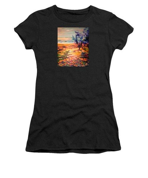 Women's T-Shirt (Junior Cut) featuring the painting Memory Pandanus by Winsome Gunning