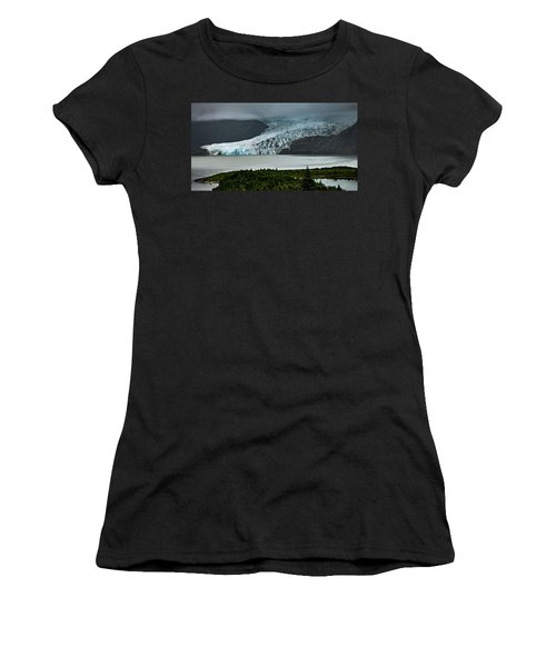 Women's T-Shirt (Athletic Fit) featuring the photograph Mendenhall Glacier by Ed Clark