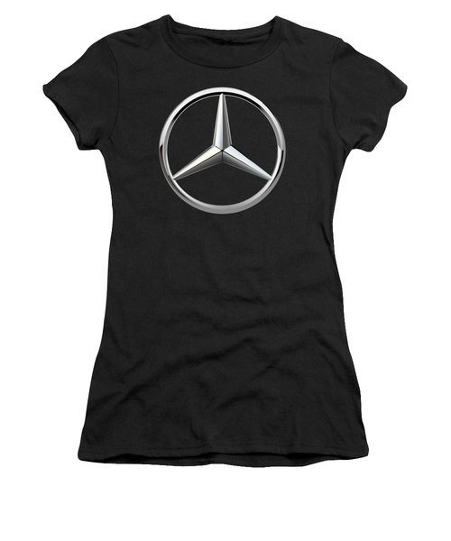 Mercedes-benz - 3d Badge On Black Women's T-Shirt (Junior Cut) by Serge Averbukh