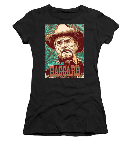 Merle Haggard Pop Art Women's T-Shirt (Athletic Fit)
