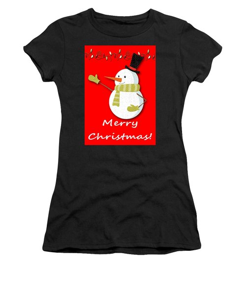 Merry Christmas Big Snow Man On Red Women's T-Shirt (Athletic Fit)