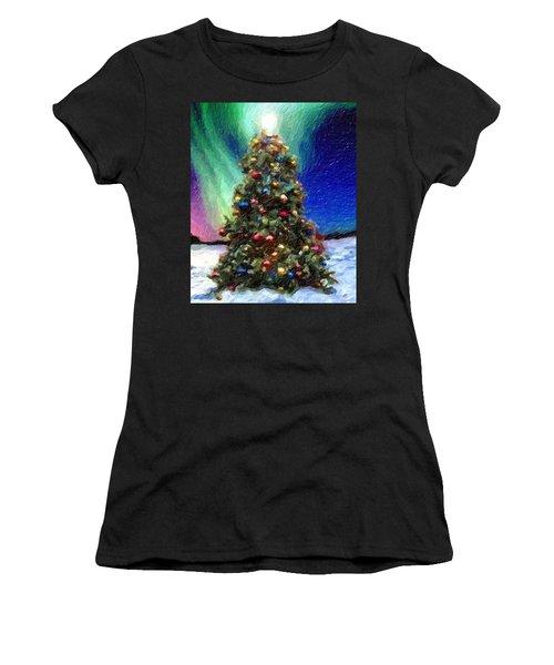 Women's T-Shirt featuring the digital art Merry Christmas by Marian Palucci-Lonzetta