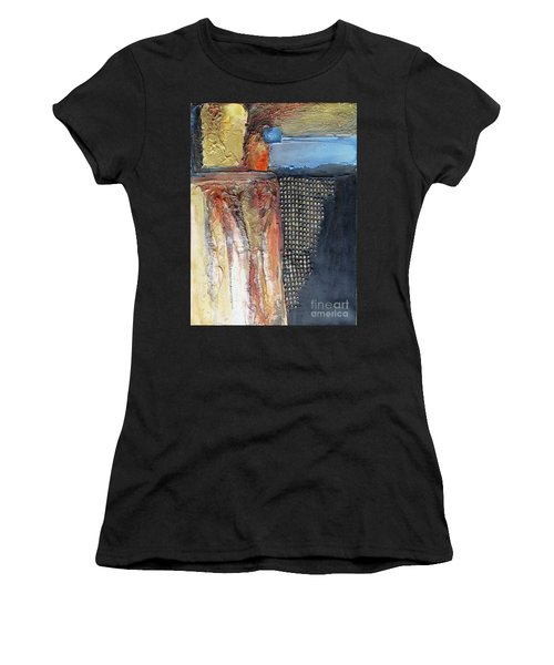 Women's T-Shirt featuring the mixed media Metallic Fall With Blue by Phyllis Howard