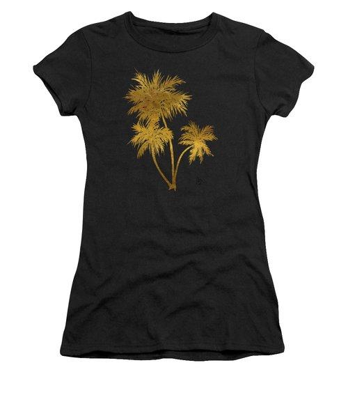 Metallic Gold Palm Trees Tropical Trendy Art Women's T-Shirt (Athletic Fit)