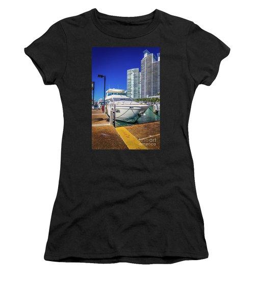 Miami Beach Marina 4578 Women's T-Shirt (Athletic Fit)