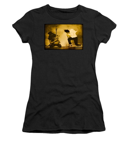 Women's T-Shirt featuring the photograph Michael Jackson And Slash Gold by Gary Keesler