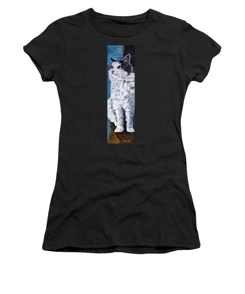 Mickey Cat Women's T-Shirt (Junior Cut) by Julie Maas