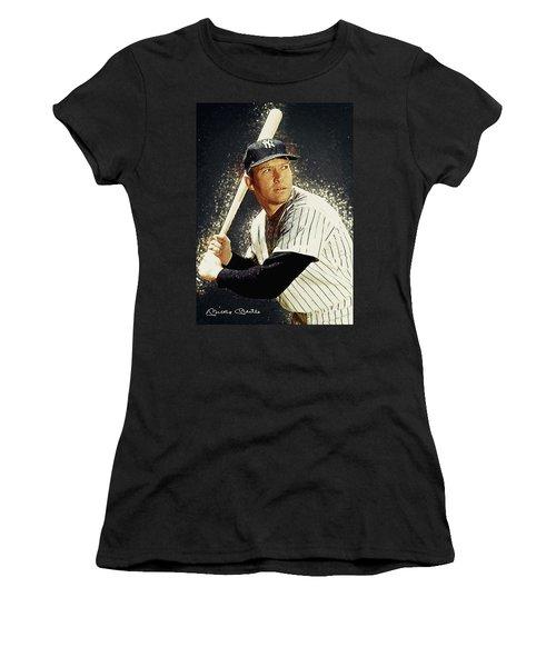 Mickey Mantle Women's T-Shirt (Junior Cut) by Taylan Apukovska