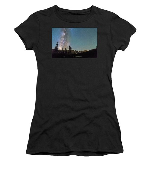 Middle Of The Night Milky Way Above The Rocky Mountains Women's T-Shirt