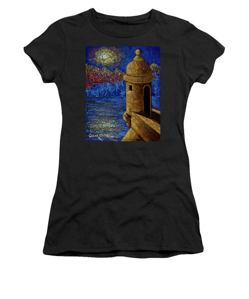 Women's T-Shirt featuring the painting Midnight Mirage In San Juan by Oscar Ortiz