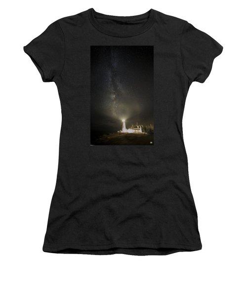 Milky Way At Pemaquid Light Women's T-Shirt