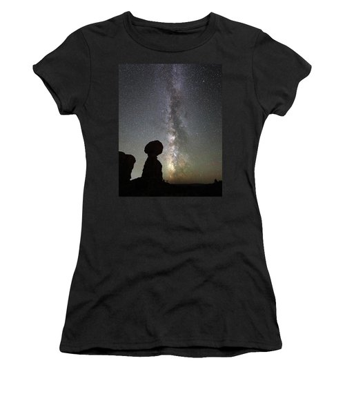 Milky Way Over Balanced Rock Women's T-Shirt