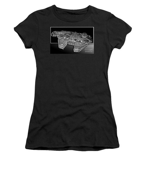 Millennium Falcon Attack Women's T-Shirt (Junior Cut) by Kevin Fortier