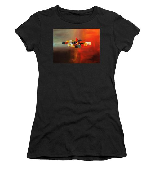 Women's T-Shirt (Junior Cut) featuring the painting Mindful - Abstract Art by Carmen Guedez